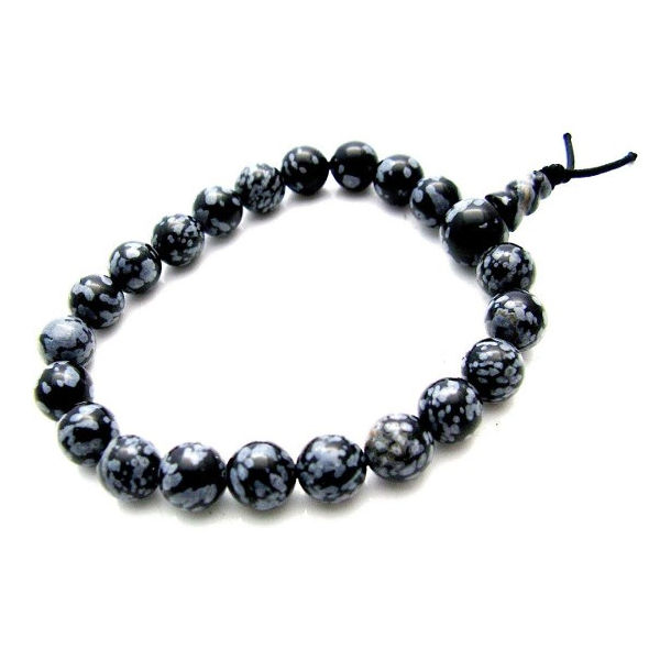 Bracelet mala : obsidienne flocon de neige