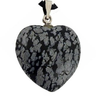 Pendentif coeur obsidienne mouchetée