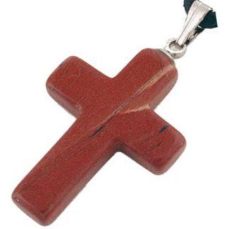 pendentif croix jaspe rouge