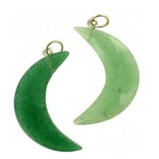 pendentif lune aventurine verte