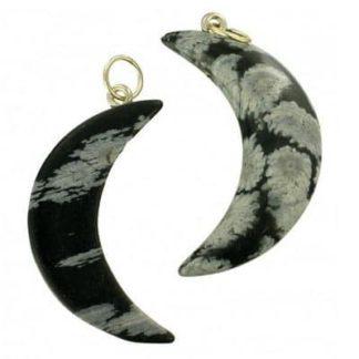 pendentif lune obsidienne mouchetée