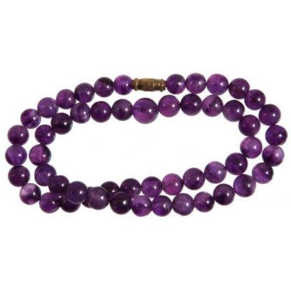Collier perles 8 mm améthyste