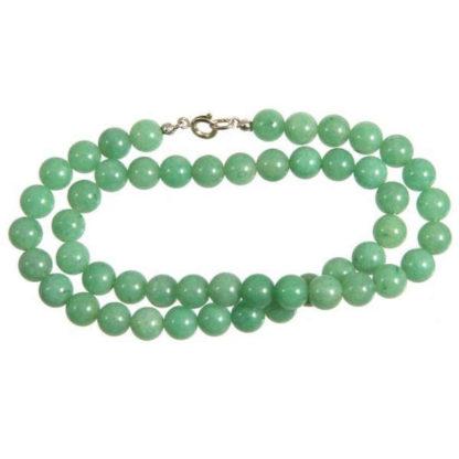 Collier perles 8 mm aventurine verte