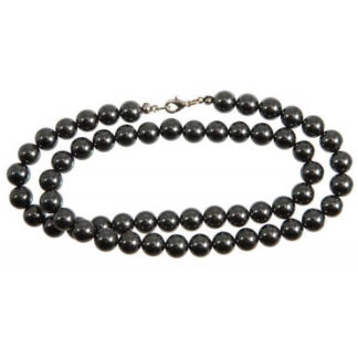 Collier perles 8 mm hématite