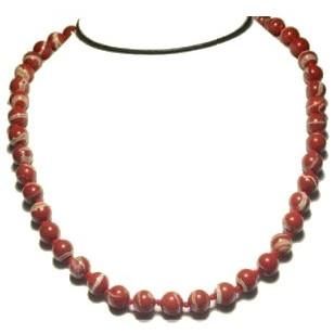 Collier perles 8 mm jaspe rouge