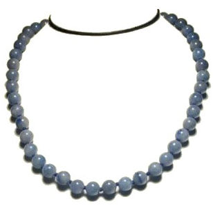 Collier perles 8 mm quartz bleu