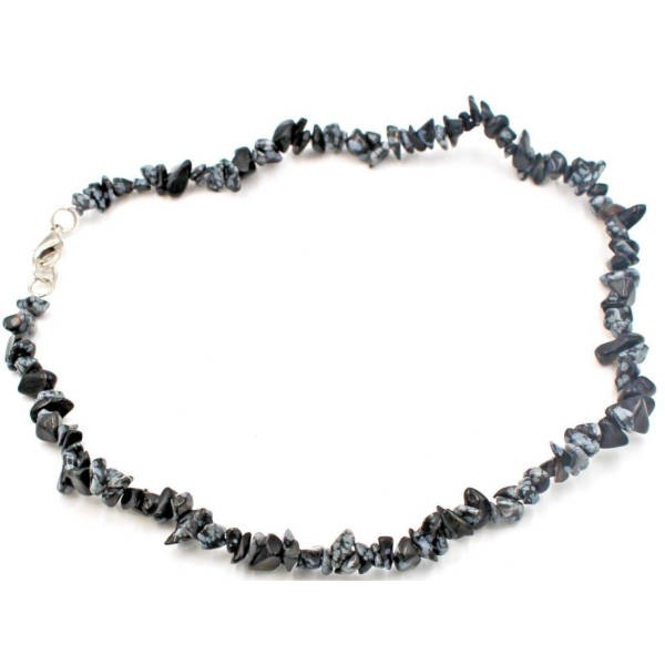 Collier baroque : obsidienne flocon neige