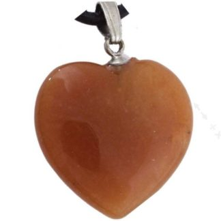 pendentif coeur pierre d'aventurine rouge