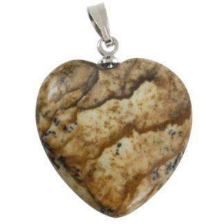 pendentif coeur pierre de jaspe paysage