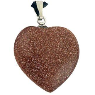 pendentif coeur pierre d'or