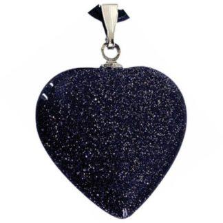 pendentif coeur pierre d'or bleue