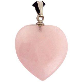 pendentif coeur pierre de quartz rose