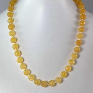 collier perles calcite jaune
