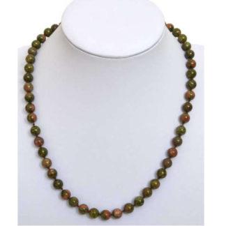 collier perles épidote (unakite)
