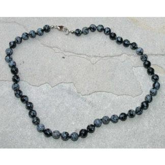 Collier perles obsidienne mouchetée