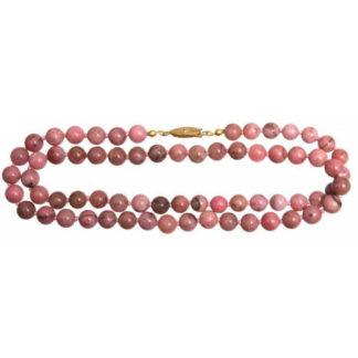 collier perles rhodonite