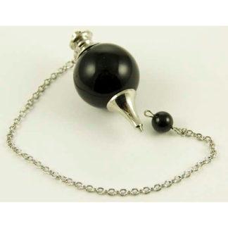 Pendule spheroton obsidienne noire