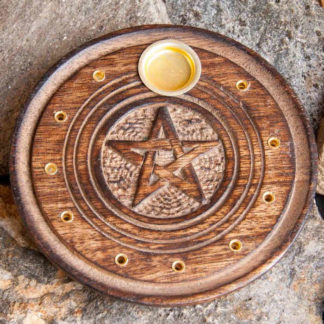 Support encens pentagramme rond