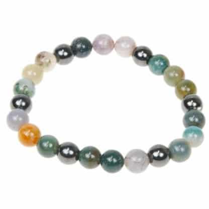 bracelet perles agates & hématite