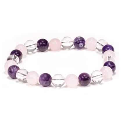 Bracelet perles améthyste, cristal & quartz rose