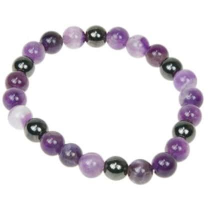 Bracelet perles améthyste & hématite
