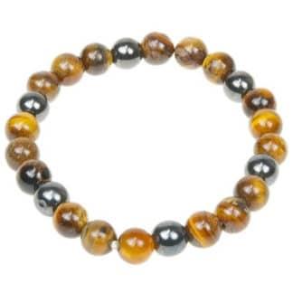 Bracelet perles oeil de tigre & hématite