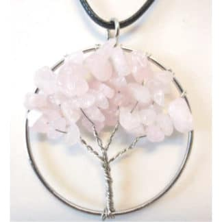 Pendentif arbre de vie quartz rose