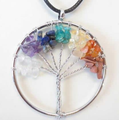 Pendentif arbre de vie 7 chakras