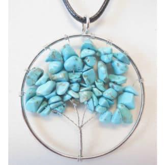 Pendentif arbre de vie turquoise